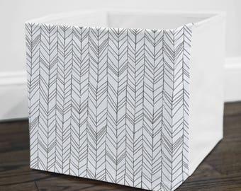 White Featherland // Storage Bin Cover // Fits into Ikea KALLAX or EXPEDIT shelf unit  // Ikea DRONA Box Cover