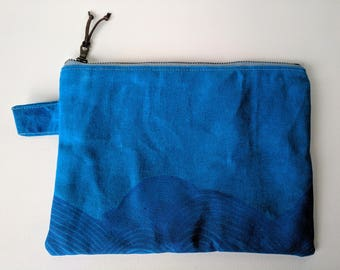 Hand Printed Waxed Zipper Pouch: Blue Waves