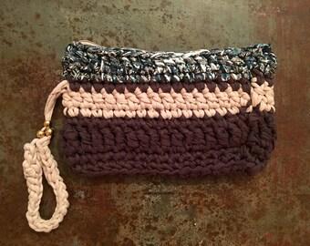 Take me out crochet chunky knitted Tshirt yarn handmade bag