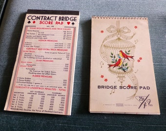 Vintage Bridge Score Pads, Contract Bridge score pads, 1940's and 1960's Bridge Score Pad, vintage score pad, Retro décor, movie prop