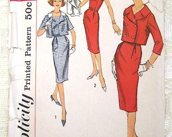 Vintage 50s Short Sleeve Square Neck Wiggle Dress, Jacket. Simplicity 2841 Sewing Pattern. Size 18,  Bust 38""