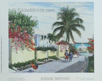 Almost Paradise - Bahamian art print of original oil painting by Eddie Minnis