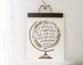 Jane Austen quote, Jane austen print, Jane austen gifts, Gifts for travelers, Globe painting