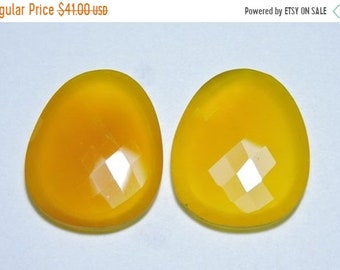 25% OFF Summer Sale 2 Pieces Very Beautiful Natural Yellow Chalcedony Faceted Irregular Shaped Loose Gemstone Size 30X27 MM
