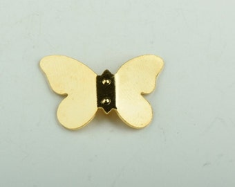 butterfly charm 25mm brass plated , 6 each 15131