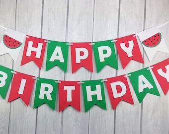 Watermelon Banner - Watermelon Photo Prop - Watermelon Happy Birthday Banner - Watermelon Party Decor