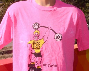 vintage 80s t-shirt GE CAPITAL corporate cup bank olympics neon fluorescent hot pink tee XL Large