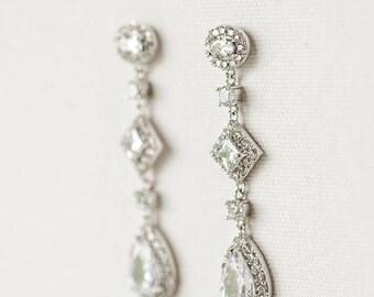 Wedding Earrings, Brides Earrings, Bridal Earrings, Drop Earrings, CZ Earrings,