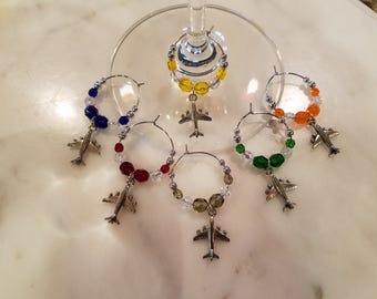 Airplane Airplanes Pilot Flight Wine Charms w/Pouch