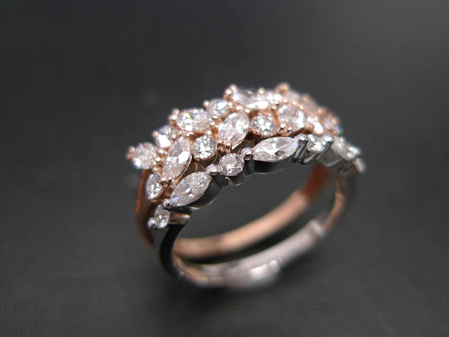 Set of TWO Marquise Diamond Engagement Ring and Wedding Band
