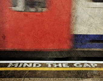 London Photography, Underground, Mind the Gap, Red, London Print, Travel Photography, Contemporary, British Decor, Wall Art, Matted Print