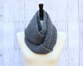 Grey Infinity Scarf, Grey Loop Scarf, Grey Crochet Scarf, Grey Chunky Scarf, Chunky Infinity Scarf, Grey Circle Scarf, THE BRINDLEY