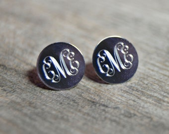 Personalized Monogram Round Stud Earrings