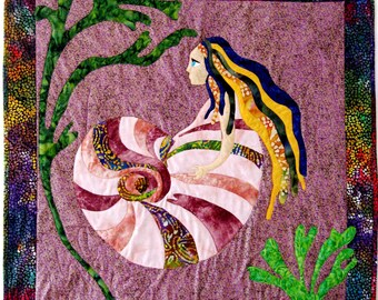Mermaid Quilt Wall Hanging Wall Art Applique Sea Witch Batik Blue Purple Gold Green Original Design