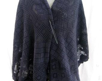 Trendy plus size blue up-cycled vintage crochet shawl, romantic cape, repurposed dyed vintage lace, deep blue boho, artsy oversized cape
