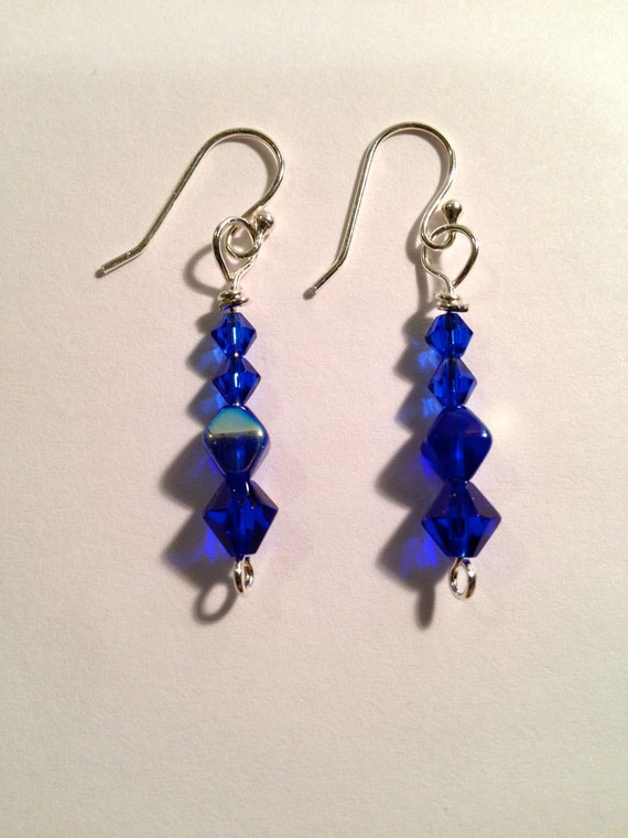 SJC10250 - Silver plated earrings with blue Swarovski crystal beads
