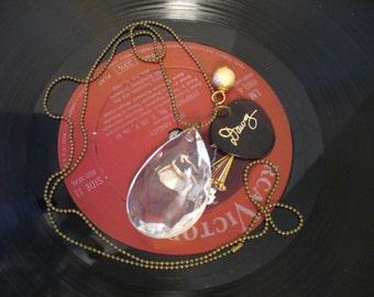 Vintage Guitar Pick Necklace, Chandelier Crystal Necklace, Bead Chain Necklace, Vintage Dawg Guitar Pick, Gold Bead, MarjorieMae