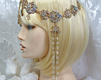Gatsby HEADPIECE + EARRINGS 1920s Roaring 20s Flapper Aurora Borealis Crystal Gatsby wedding gatsby accessories The Great Gatsby dress party