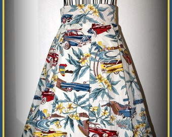 Pin up girl Tiki Style Skirt in Off White Size Large