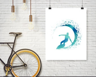 Instant Download - Surfer Surf Blue Watercolor Wave Illustration - Poster Wall Art Print Home Decor
