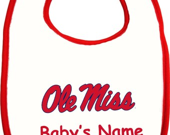 Mississippi Ole Miss Rebels Personalized Baby Bib