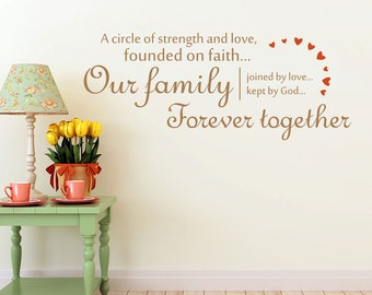 A Circle Of Strength And Love Wall Decal | Family Christian wall Sticker - Christian Wall Decal