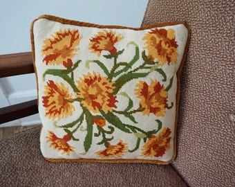 Vintage Needlepoint Throw Pillow with Mod Rust Orange and Green Floral