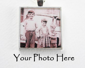 Custom Photo Pendant 1 inch square Silver Plated Bezel - - made from your photo