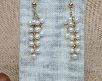 White Freshwater Round Potato Pearls Dangle Earrings