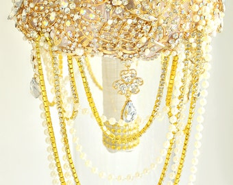 Gold wedding bouquet, Gold cascading wedding, Jewelry brooch bouquet, Bridal bouquet, Rhinestone bouquet, Broach bouquet, Wedding decor.
