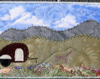 Campsite - Travel Camper - Fabric Postcard - Mountain Art - Postcard Art -  Outdoor Scene - Nature Postcard - Travel Memories - Home Decor