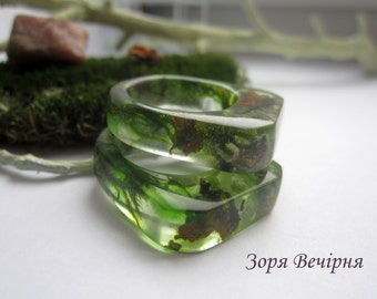 Mystical green ring with moss and lichen
