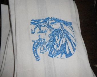 NEW kitchen Tea Towel embroidered with HORSES