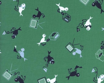Cotton + Steel Rotary Club Hello Bird Green 100% Cotton Fabric
