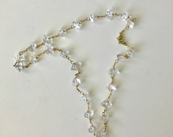 YELLOW GOLD Herkimer Diamond Station Necklace