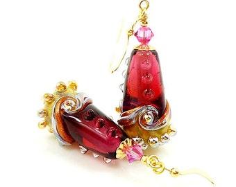 Pink Earrings, Lampwork Earrings, Cone Earrings, Glass Earrings, Unique Earrings, Unusual Earrings, Gold Filled Earrings, Dangle Earrings