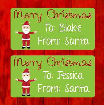 personalized merry christmas from santa christmas present tags