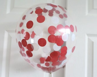 Red Balloons, Red and White Confetti Balloons,  Red Party Balloons, Confetti Balloons, Red Party Decoration, Red Party, Red Photography Prop