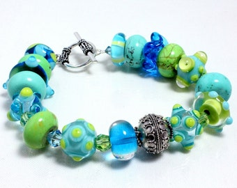 Aqua Lampwork Bracelet with Sterling Silver and Swarovski Crystals