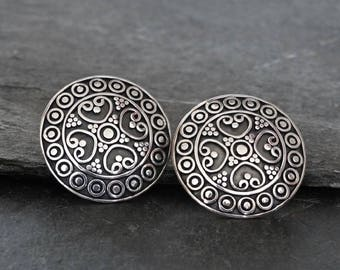 Silver Stud Earrings, Round Studs, Circle Earrings, Large Studs, Post Earrings, Balinese Earrings, Sterling Silver, 925