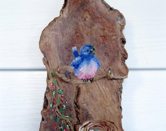 Bird Painting Tree Bark, Spring Song Bird Song, Gift for Dad, Gift for Mom, Natural Decor, Nature, Painted Wood, by gardenstones on etsy