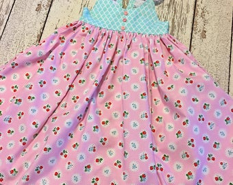 strawberry dress, girls strawberry dress, baby strawberry dress, strawberry party, strawberry festival dress