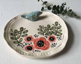 the flowers and bird plate