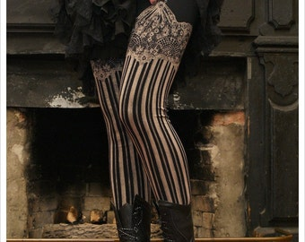 LAST RUN Burlesque Leggings - Bleach Yoga Leggings - BLACK - Garter leggings - printed Tights - suspender tights