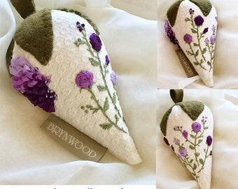 Royal Purple Strawberry Rose Sachet, Ribbon Embroidered, Hand Embroidered, Purple Pincushion, Stitchery