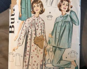 Vintage 50s Butterick 2117 Pajama Set Pattern-Size 12 (32-26-34)