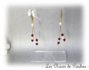 Burgundy, ivory and gold earrings with tiny asymmetrical Sophie