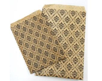 300pcs - 6x9 Damask Kraft Paper Merchandise Bags -  Wedding Party Favor Bags - Craft Fair Bags