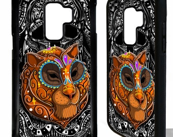Tiger head tigeress sugar skull tattoo day of the dead art rubber protective cover for samsung galaxy s5 s6 s7 s8 s9 plus edge phone case