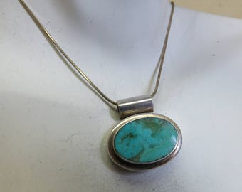 Modern Sterling Turquoise Pendant Necklace, 18 Inch Omega Chain